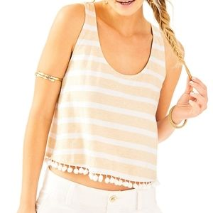 Lilly Pulitzer Shirley striped pom pom tank top L